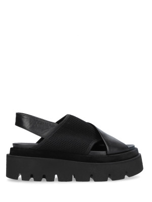 Sandalo Pelle Tessuto Nero