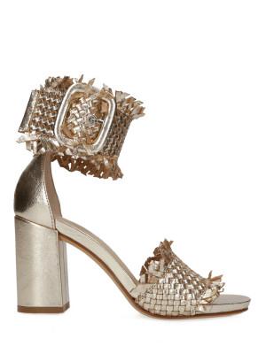 Sandalo in pelle intrecciata 80mm