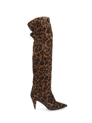 Stivale Alto Pelle Leopard