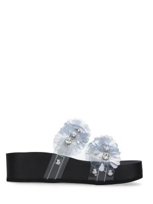 Sandalo Sabot Nero Trasparente