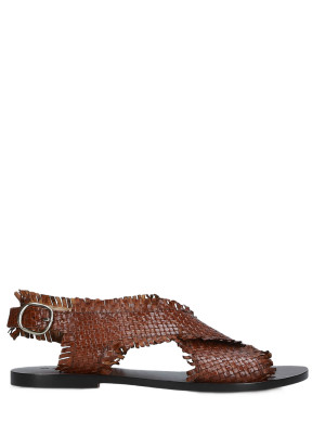 Sandalo in pelle intrecciata cuoio