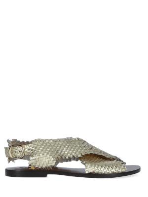 Sandalo in pelle intrecciata platino