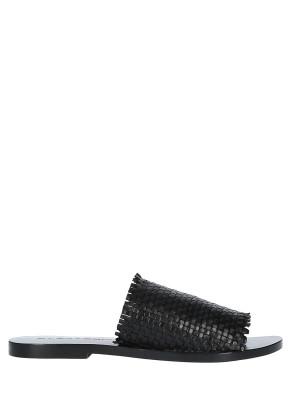 Sandalo in pelle intrecciata nero