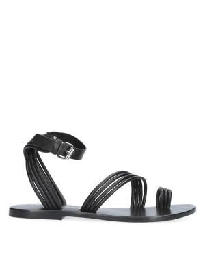 Sandalo Flat intrecciato nero