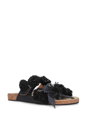 Sandalo in pelle nero accessori