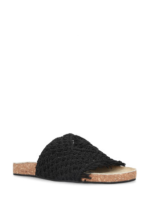 Sandalo cotone macramè nero