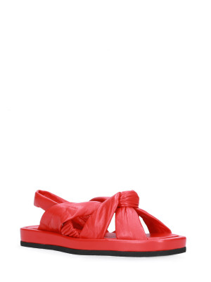 Sandalo in pelle nappa rosso