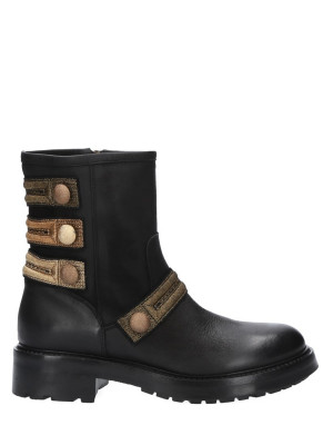 Leather Militar Ankle Boot