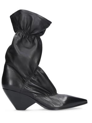 70mm Black Vintage Leather Ankle Boot
