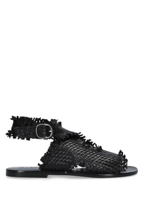 BLACK BRAIDED LEATHER SANDAL