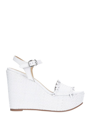 WEDGE SANDAL WHITE BRAIDED LEATHER
