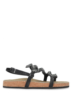 LEATHER SANDALS WITH CRYSTALS