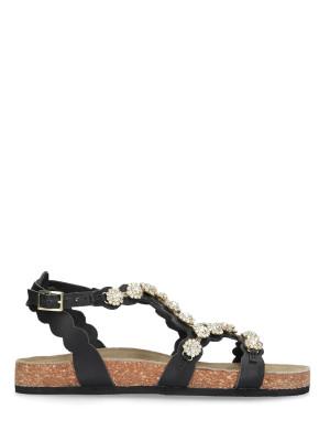 Sandalo in pelle nera sughero
