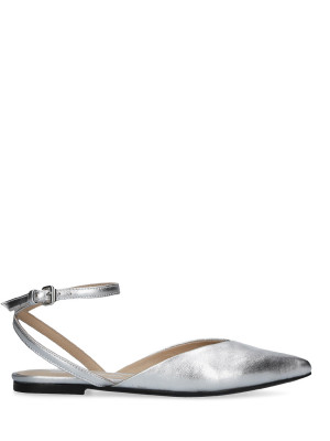 SILVER LEATHER BALLERINA WITH CROSSING