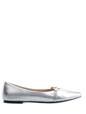 Silver Leather Ballerinas