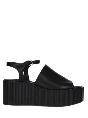 70mm Black Leather Wedge Sandals