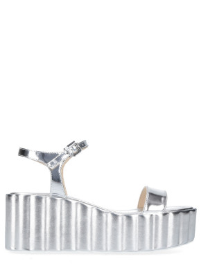 70mm Silver Leather Wedge Sandals