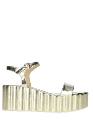 70mm Platin Leather Wedge Sandals