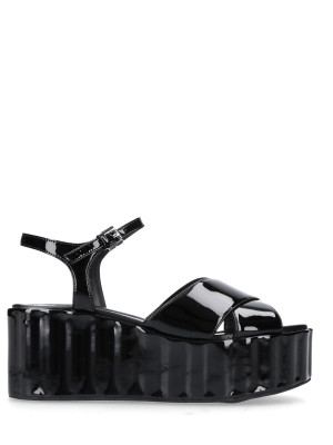 70mm Leather Wedge Sandals Gloss Black