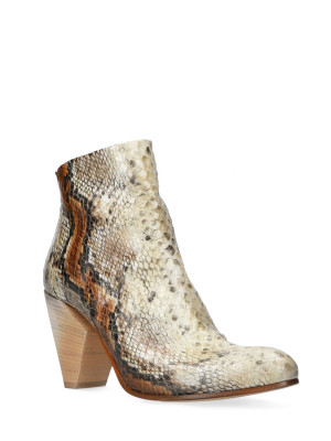 80MM SNAKE PRINT FABRIC ANKLE BOOTS