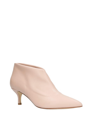 Pink stretch leather ankle boot