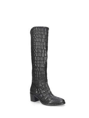 BLACK PRINTED LEATHER BOOTS