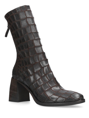 BROWN CROC PRINTED ANKLE BOOTS
