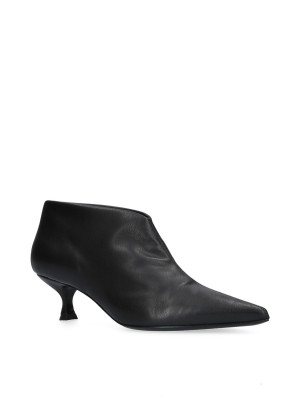 Low black leather ankle boots