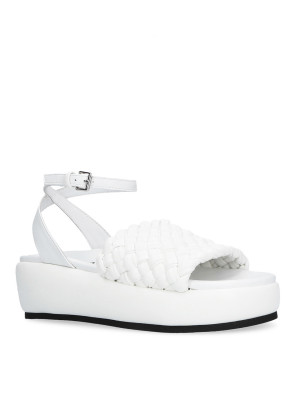 Woven sandal with white strap