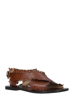 Brown Braided Leather Sandals