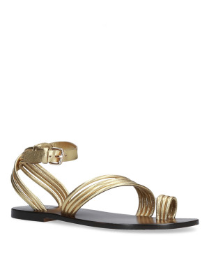 Flat gold braided sandal