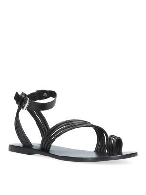 Black woven flat sandal