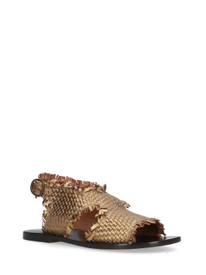 SANDAL BRONZE BRAIDED LEATHER