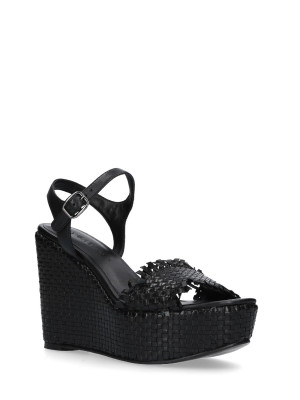 WEDGE SANDAL BLACK BRAIDED LEATHER