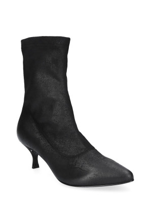 Black Stretch Faux Leather Ankle Boots