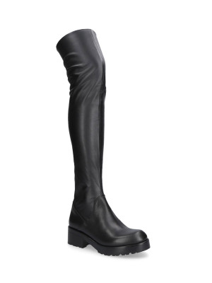 ELASTIC ECOLEATHER BLACK BOOTS