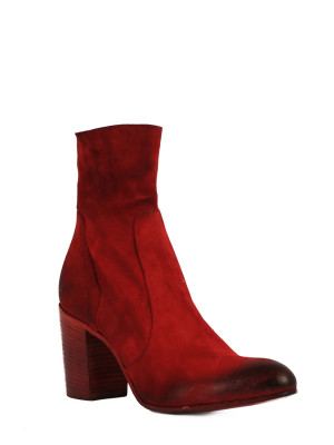 Red Suede Ankle Boots 80mm