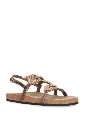 SANDAL BRONZE LEATHER CORK SOLE