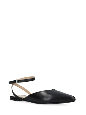 BLACK LEATHER BALLERINA WITH CROSSING STRAP