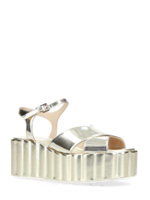 70mm Platinum Leather Wedge Sandals