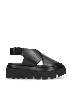 Sandalo nero incrocio