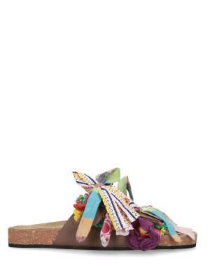 Sandalo in pelle accessori multicolor