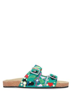 Sandalo in pelle verde decorazioni multicolor