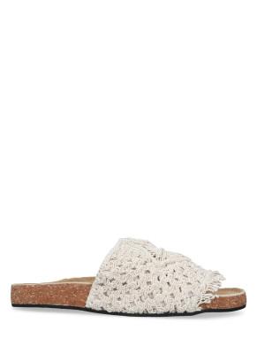 Sandalo cotone macramè bianco