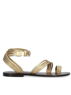 Sandalo Flat intrecciato oro