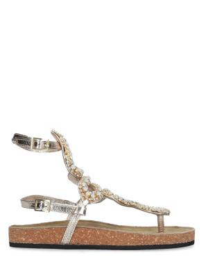 Sandalo in pelle gold white