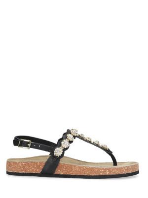 Sandale tong en cuir noir