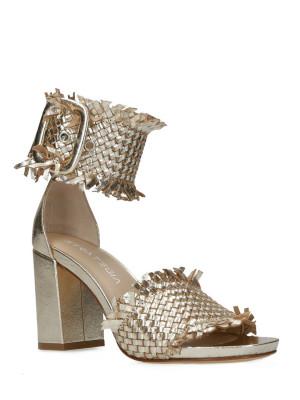 Sandales en Cuir Tressé Platin