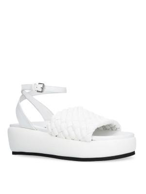 Sandalo intrecciato con cinturino bianco