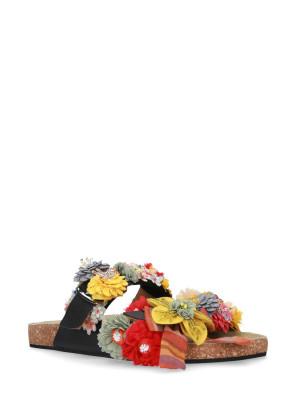 Sandalo in pelle nero accessori multicolor